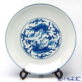 景徳鎮 青花麒麟紋鍋盤C3-9 36.5cm 黄 雲鵬 作
