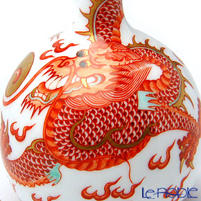 景徳鎮 礬紅描金雲龍紋天球瓶D1-31(小) 15cm 黄 雲鵬 作