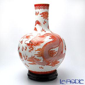 景徳鎮 礬紅描金雲龍紋天球瓶 D1-165-2 53cm 黄 雲鵬 作