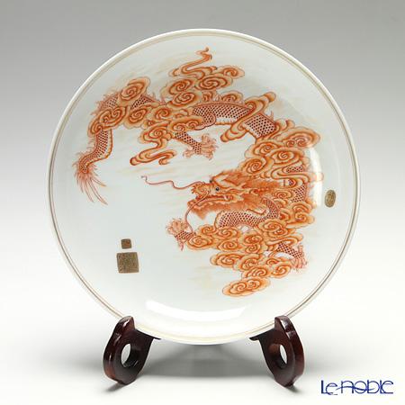 景徳鎮 礬紅描金雲龍紋盤D0-04 21.5cm 黄 雲鵬 作