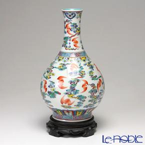 景徳鎮 斗彩云蝠紋胆瓶D1-039 28.5cm 黄 雲鵬 作