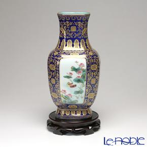 景徳鎮 粉彩祭藍描金草光花鳥八方瓶D1-182 34cm 黄 雲鵬 作
