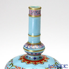 Jingdezhen Porcelain 'Famille Rose - Turquoise Blue base / Arabesque' Bottle Vase H15.5cm