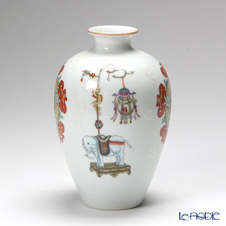 景徳鎮 粉彩五幅棒壽豊肩梅瓶H1-8 20.5cm