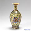 Jingdezhen Porcelain ware (China) Famille rose, Falangcai, Cream ground / Flower / vase (hua ping) H1-16 20 cm