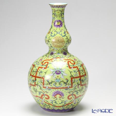 景徳鎮 萬壽連延圖長頸葫蘆瓶 40cm