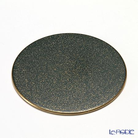 Laque Nouveau 'Gold Glitter' Green Flat Round Coaster 11cm