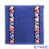 Feiler 'Aida (Flower) Black' Smoke Blue Hand Towel 25x25cm