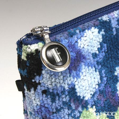 Feiler 'Tropical Garden (Flower)' Petrol Blue Cosmetic Pouch 18x9cm