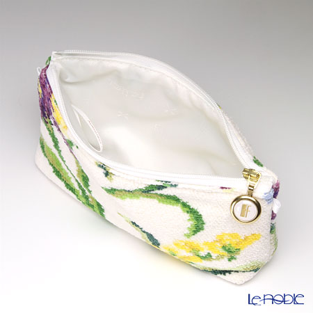 Feiler 'Desiree (Flower)' White Cosmetic Pouch 18x9cm