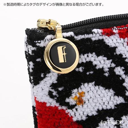 Feiler 'Zoe (Flower)' Black & Red Cosmetic Pouch 18x9cm