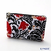 Feiler 'Zoe (Flower)' Black & Red Cosmetic Pouch 18x9cm