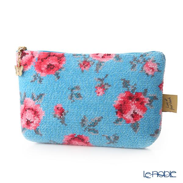 Feiler 'Mon Petit (Flower)' Cyan Blue Cosmetic Pouch 18x9cm