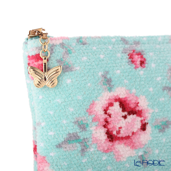 Feiler 'Mon Petit (Flower)' Aqua Blue & Candy Pink Cosmetic Pouch 18x9cm