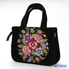 Feiler 'Vienna (Flower)' Black Bag 32x25x13cm