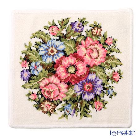 Feiler 'Vienna (Flower)' White with Gold Thread Hand Towel 30x30cm