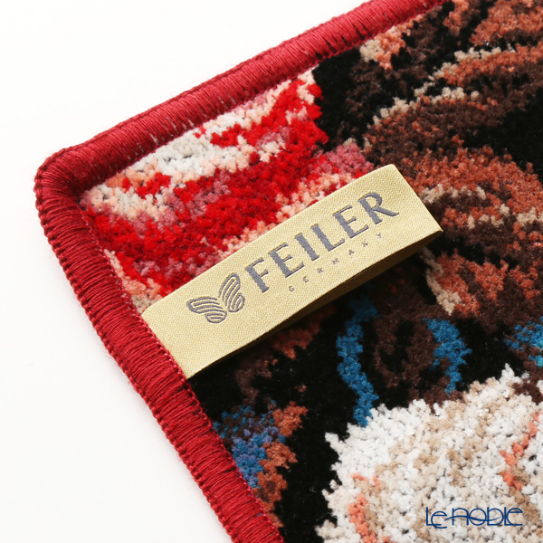 Feiler 'Cornwall (Flower) Black' Bordeau Red Hand Towel 30x30cm