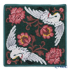 Feiler 'Legacy (Flower & Crane / Bird)' Fir Green Hand Towel 30x30cm
