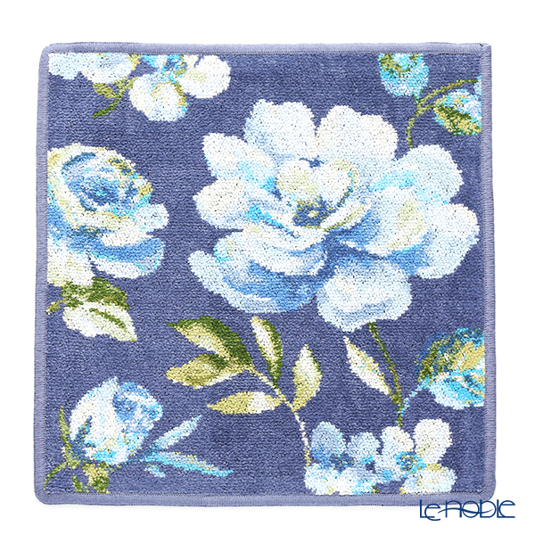 Feiler 'Diana (Flower)' Blue Grey Hand Towel 30x30cm