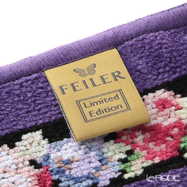 Feiler towel 70th anniversary Limited Edition Aida black purple 25 x 25 cm
