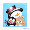 Feiler 'Winter Snowman (Christmas)' Cyan Blue Hand Towel 25x25cm