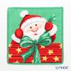 Feiler 'Christmas Santa' Green Hand Towel 25x25cm