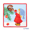 Feiler 'Christmas Squirrel and Girl' Red [2019] Hand Towel 25x25cm