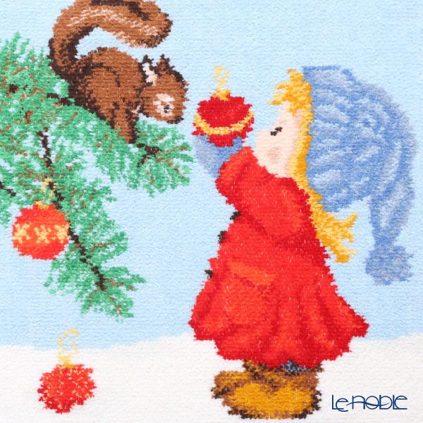 フェイラー ハンドタオルクリスマス 2019 リスと少女 グリーン 25×25cm