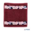 Feiler 'Cosmos Blue (Flower)' Wine Red Hand Towel 25x25cm