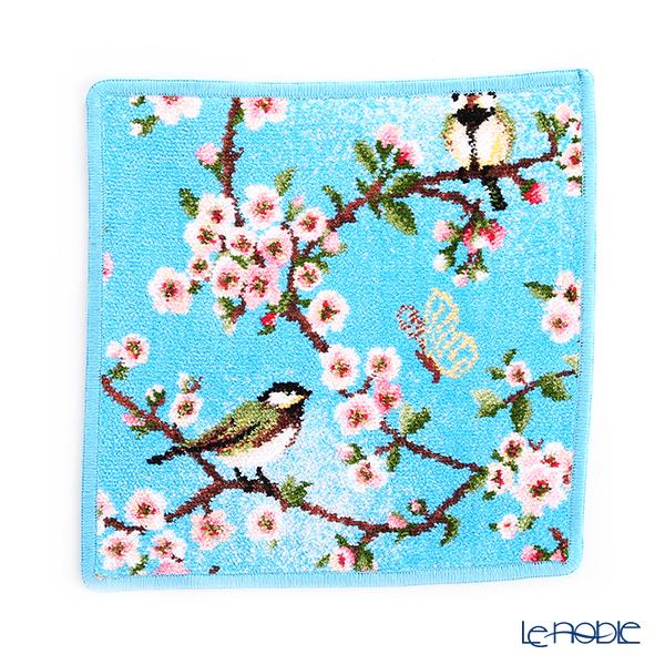 フェイラー ハンドタオル(ハンカチ) シジュウカラと桜 25×25cm アクア