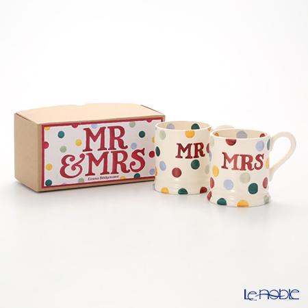 Emma Bridgewater Polka Dot Mr & Mrs Set of 2 1/2 Pint Mugs Boxed