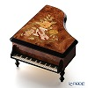 Ercolano Italy inlaid music box piano-(the Blue Danube) Brown violin Keyaki Japanese zelkova