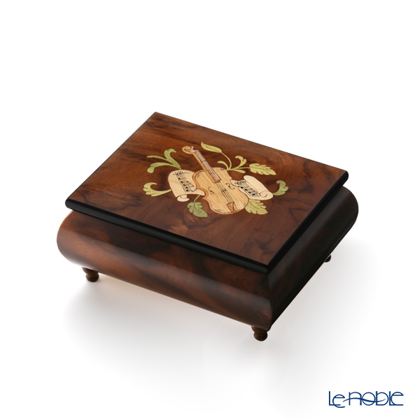 Ercolano Italy inlaid music box (Moon light) violin Brown