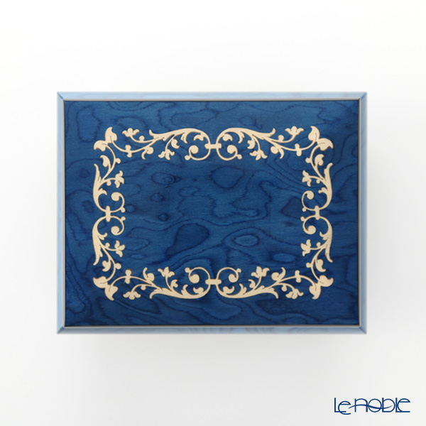 Ercolano / Italian Inlaid Wood 'Arabesque Frame' Blue Jewelry Music Box 14.5x11.5cm