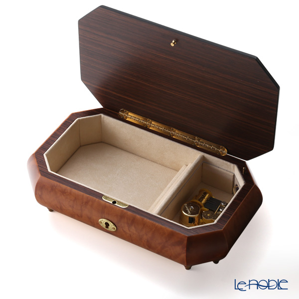 Herculaneum Italy inlaid music box (Swan Lake) Violin Keyaki Japanese zelkova Matt Brown room