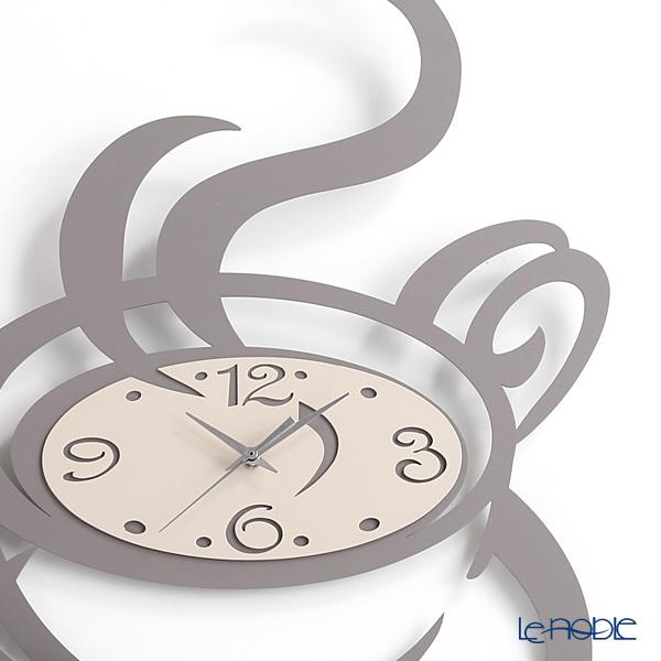 アルティ・エ・メスティエリ 壁掛け時計コーヒーカップ グレー 45×55.5cm 鉄製