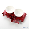 Arti & Mestieri 'Rose Bouquet' Red Bowl (set of 2 with holder)