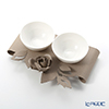 Arti & Mestieri 'Rose Bouquet' Beige Bowl (set of 2 with holder)