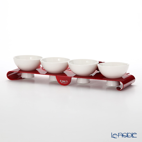 Arti & Mestieri 'Rose Bouquet' Red Bowl (set of 4 with holder)