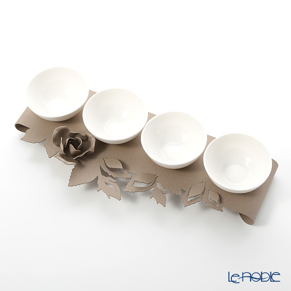 Arti & Mestieri 'Rose Bouquet' Beige Bowl (set of 4 with holder)