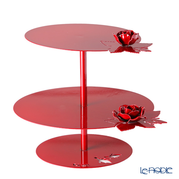 Arti-et-mastery rose bouquet Iron cake stand red height 28.5 cm