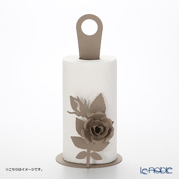 Arti-et-mastery rose bouquet Iron kitchen roll holder beige height 33 cm