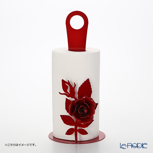 Arti-et-mastery rose bouquet Iron kitchen roll holder red height 33 cm