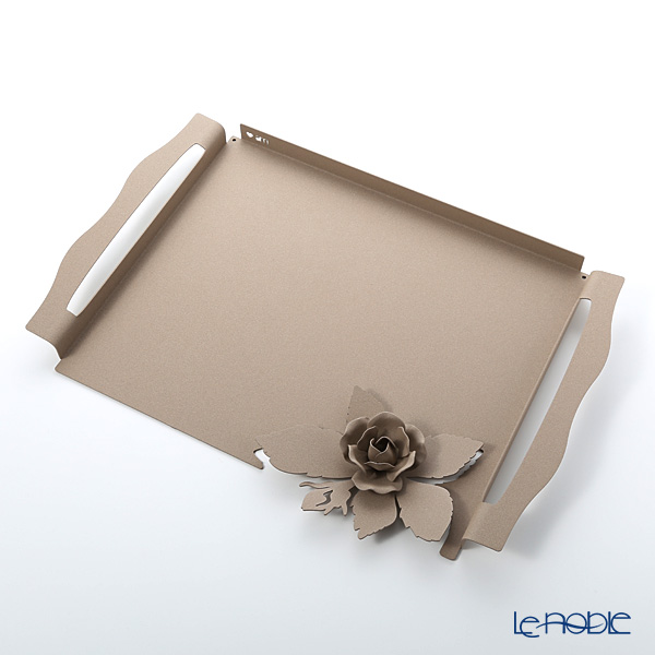 Arti-et-mastery rose bouquet Steel tray beige 46.5 x 32.5 cm