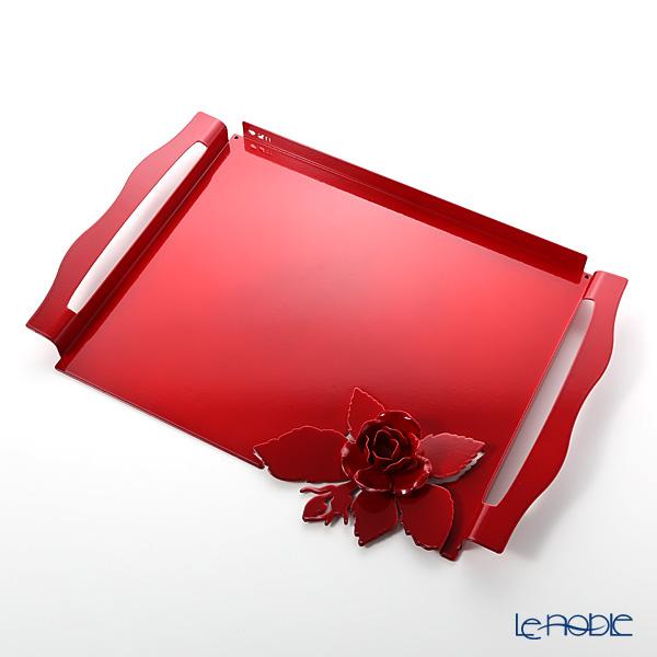 アルティ・エ・メスティエリ ローズブーケ トレイ レッド 46.5×32.5cm 鉄製