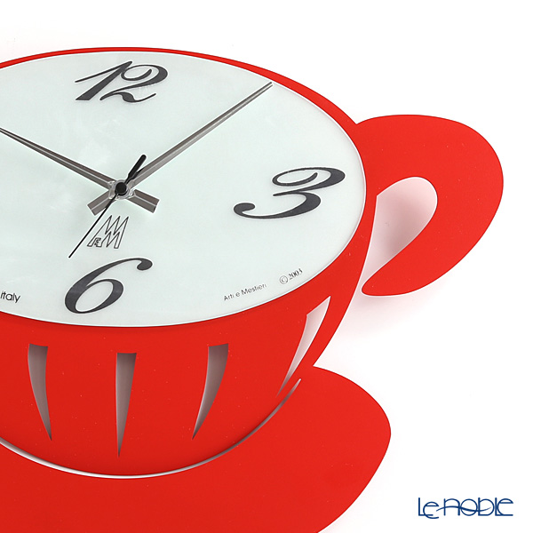 Arti & Mestieri 'Break / Coffee Cup' Red Wall Clock 41.5x36.5cm