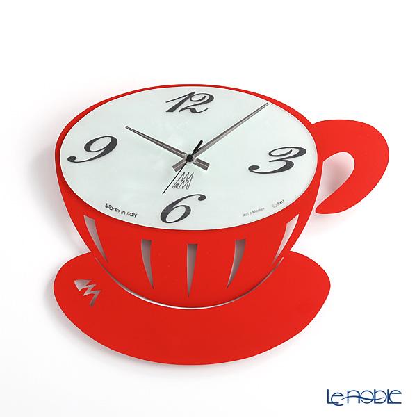 アルティ・エ・メスティエリ 壁掛け時計 コーヒーブレイク レッド 41.5×.36.5cm 鉄製