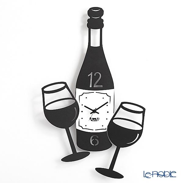 アルティ・エ・メスティエリ 壁掛け時計 ワインの時間 ブラック 30.5×53cm 鉄製