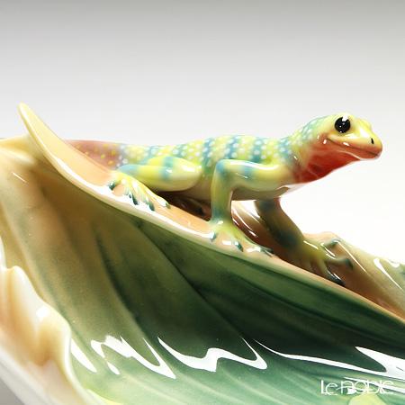 Franz Collection 'Rain Forest Little Dwellers - Lizard (Leaf)' Yellow FZ01868 Sculptured Candy Dish