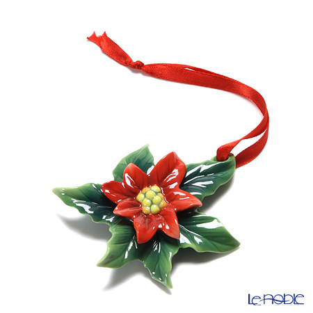 Franz Collection Holiday Classic poinsettia flower porcelain ornament FZ02287